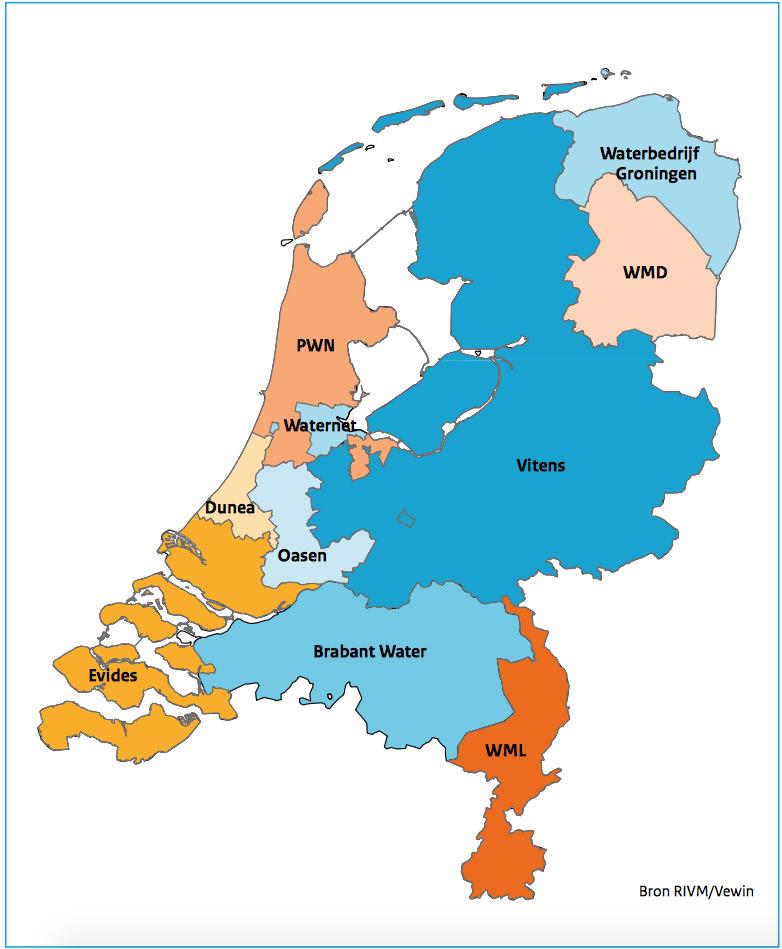 Hier vind een overzicht van de Nederlandse drinkwaterbedrijven waar de kwaliteit en oa de hardheid van het drinkwater kan worden opgevraagd.
